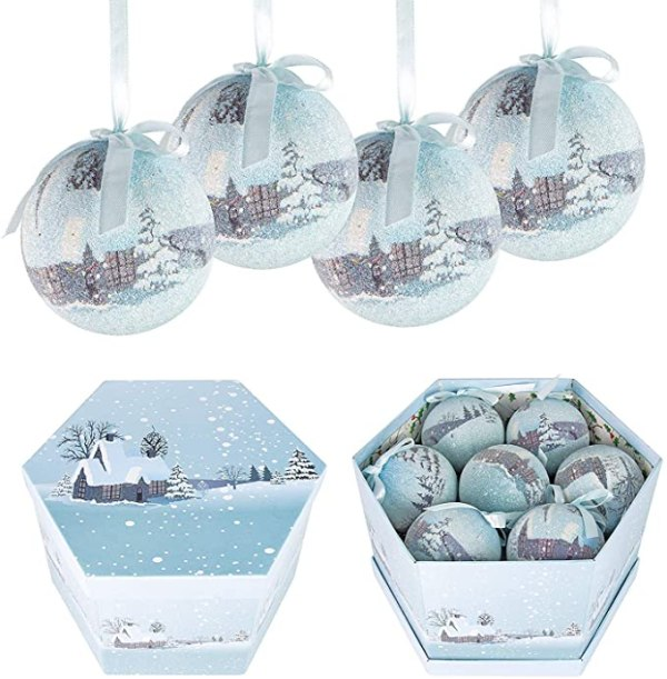 14 Piece Frosted Snow Village Christmas Baubles Set 1