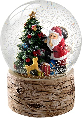 13cm Christmas Tree with Birch Base Snow Globe Decoration 1