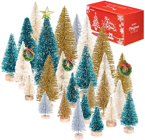46 Set Mini Christmas Trees Artificial Frosted 1