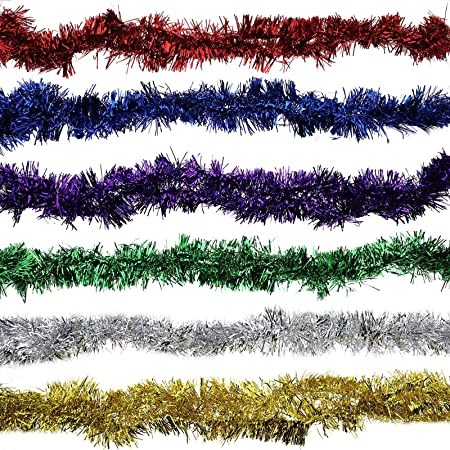 2m by 9cm 6 Pieces Christmas Tinsel Multi Colours 1