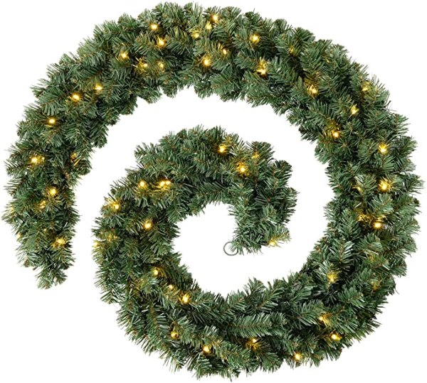 9ft Extra Thick Pine Garland Christmas with 80 LED green 1