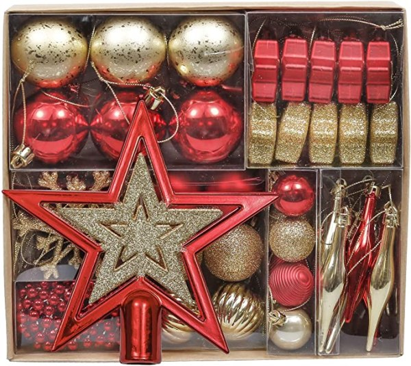 52pcs Christmas Baubles 3-5cm Red and Gold 1