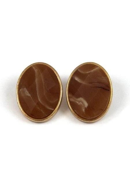 3 ASSORTED AGATE STONE EARRINGS - BROWN