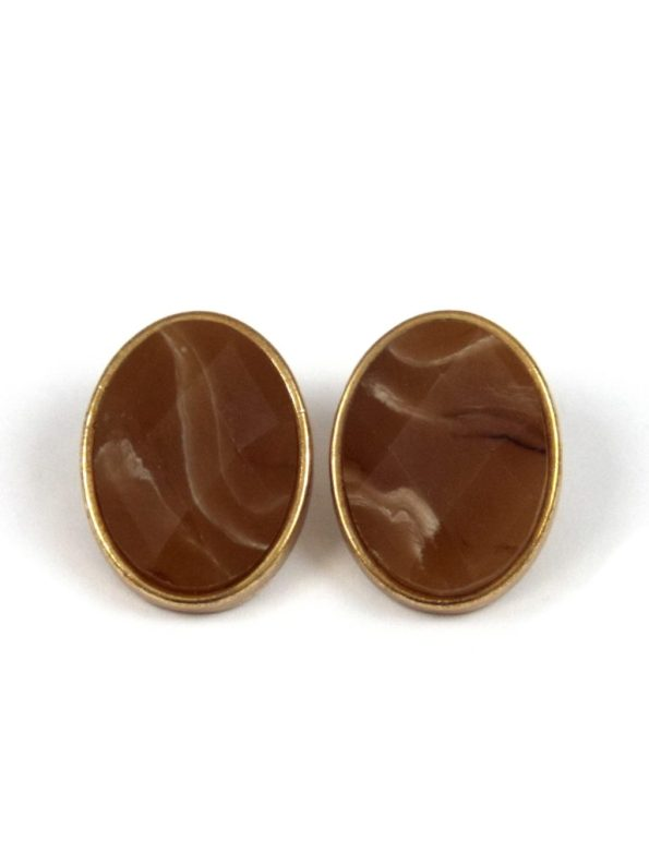 3 ASSORTED AGATE STONE EARRINGS – BROWN 1