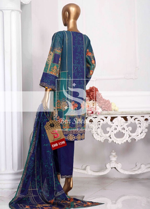Summer Embroidered Lawn Collection Vol-1 EMB-1390 3