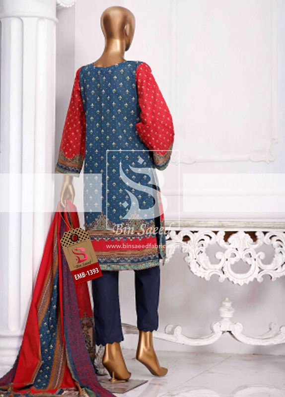 Summer Embroidered Lawn Collection Vol-1 EMB-1393 3