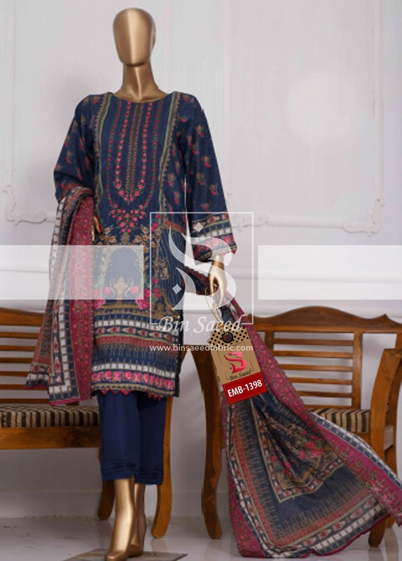 Summer Embroidered Lawn Collection Vol-1 EMB-1398 2