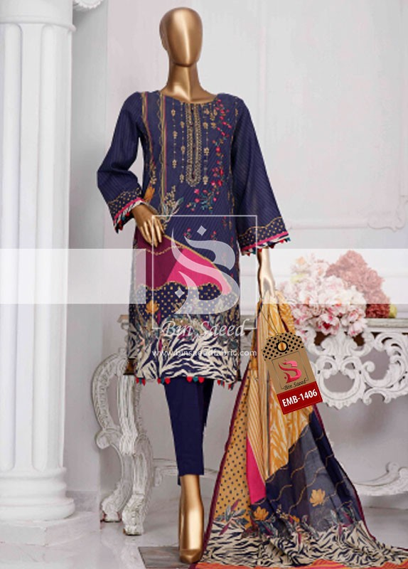 Summer Embroidered Lawn Collection Vol-1 EMB-1406 2