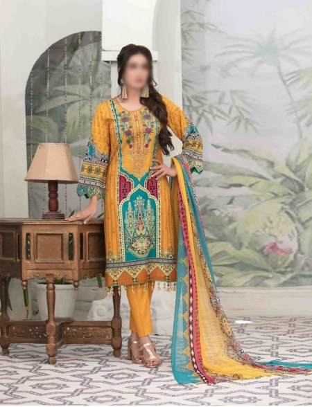Summer Medley Lawn Printed And Embroidered Collection D-1473 B