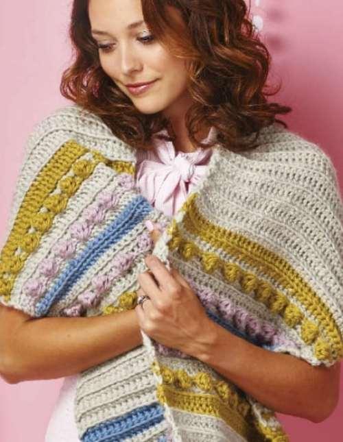 Simply Crochet Magazine Issue 37 spots and stripes chunky wrap by Hannah Cross HanJan Crochet