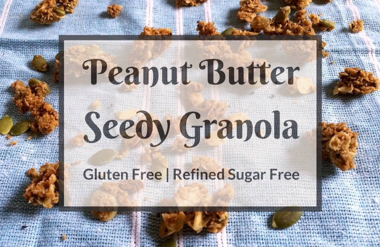 Peanut Butter Seedy Granola | Gluten Free, Refined Sugar Free.| Full of nutrition, this superfood seedy granola is creamy and crunchy with the perfect amount of peanut butter flavour and sweetness