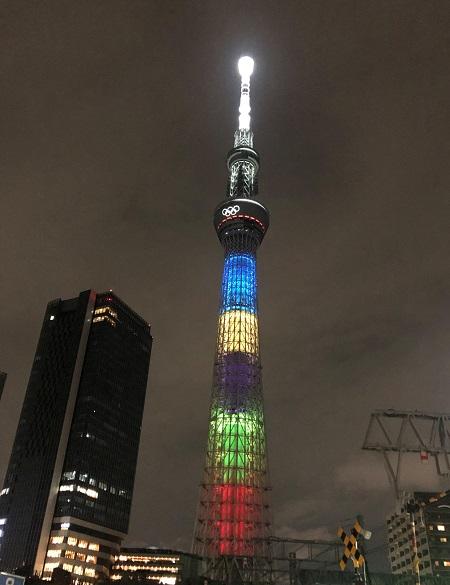202109東京五輪のある風景。スカイツリーのスペシャルライトアップ