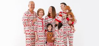 Matching Cream and red Deers pajamas for the family