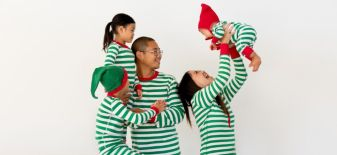 Matching White and green stripes pajamas for the family