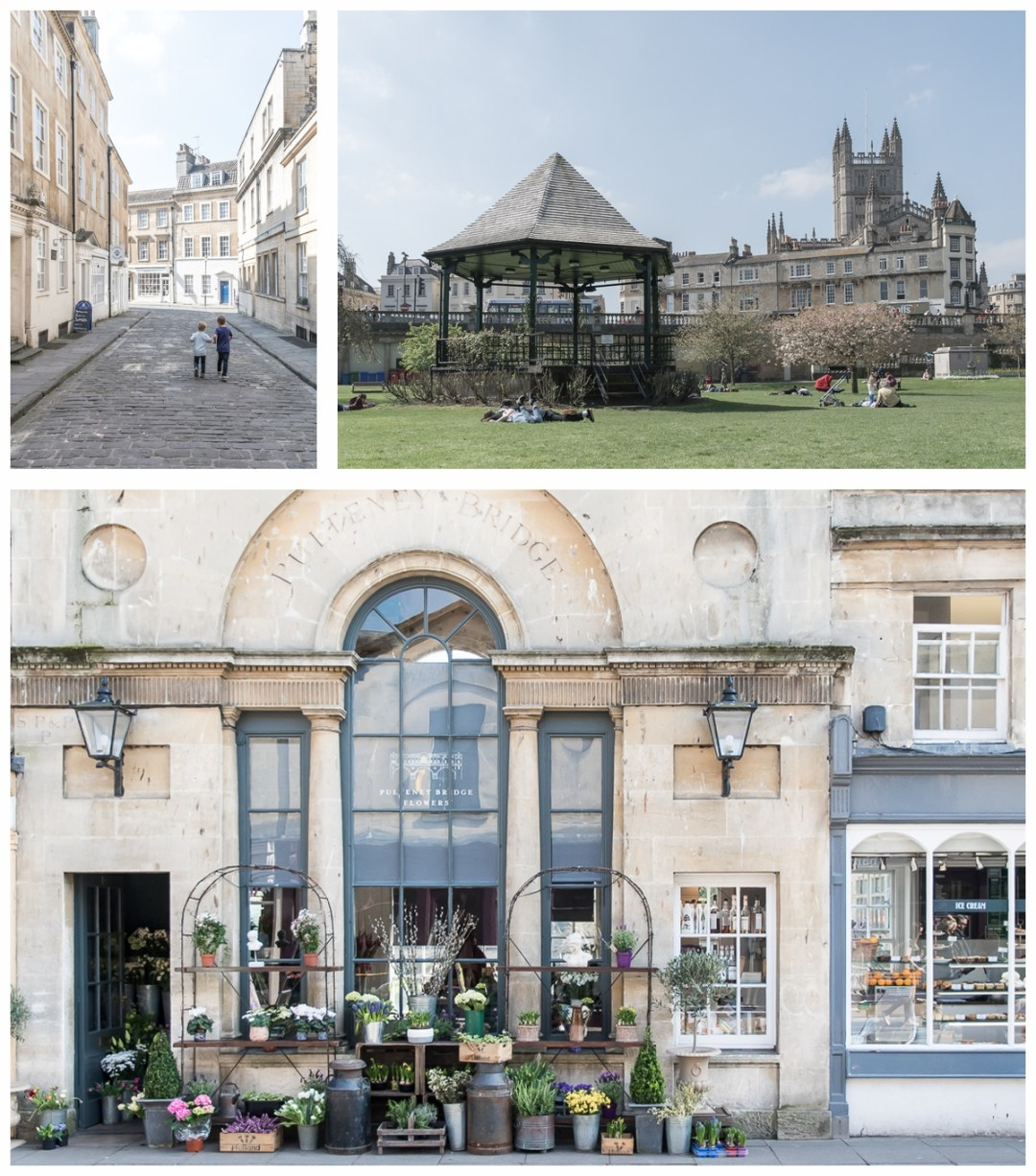 The pretty cobbled streets, the Parade Gardens, and the Pulteney Bridge flower shop, Bath