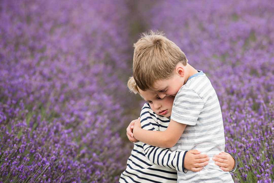 With influence comes responsibility - little boys in lavender field