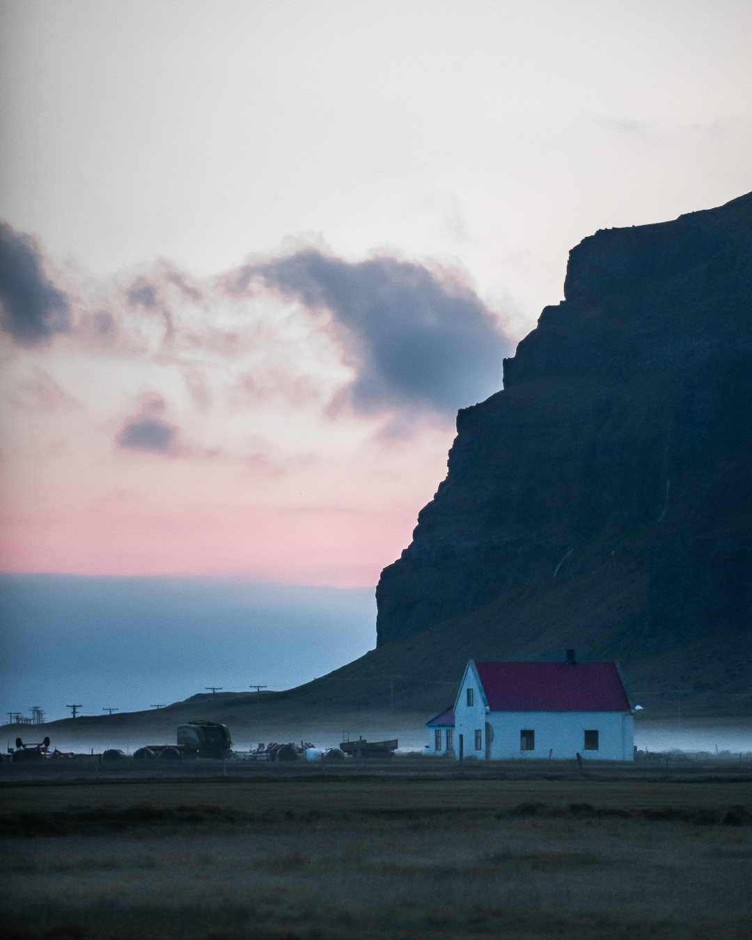 Iceland south coast midnight sun