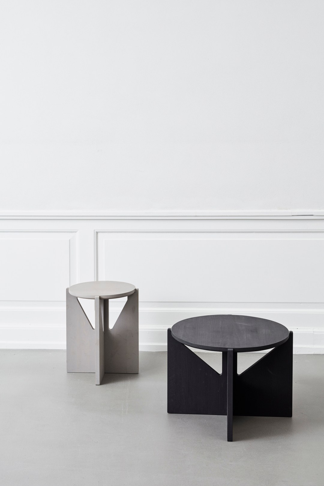 Kristina Dam minimalist tables and stool