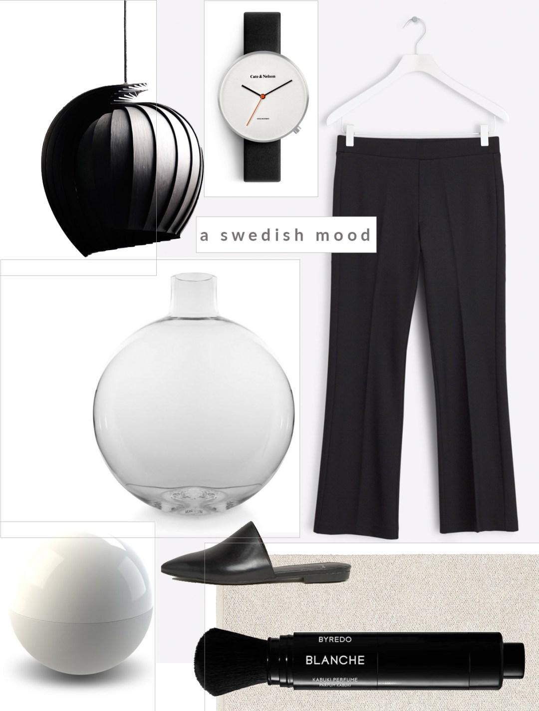 Shopping mood board of Swedish fashion and design, Swedish style