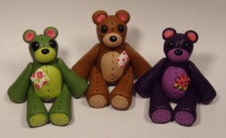 Olive Bear, Chocolate Bear, Grape Bear made of polymer clay