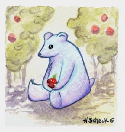 "Watercolor painting ""Apple Bear"""