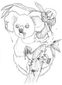 "Graphite sketch ""Zombie Koala"""