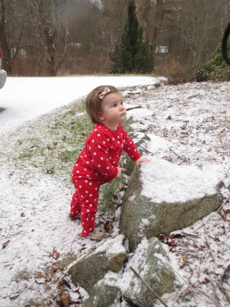 Eliza, born on New Year's morn 2012, sees her first snow