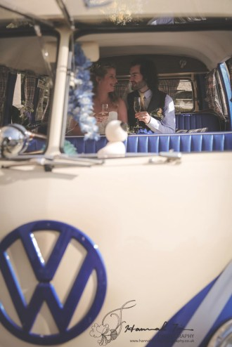 Bride & Groom inside VW camper