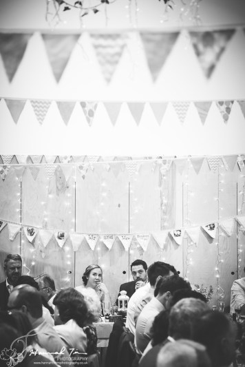 Bride & Groom at reception with bunting
