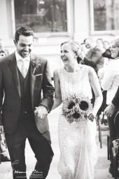 Bride laughing black & white