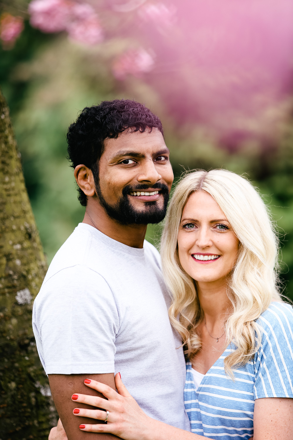 engagement portraits cherry blossoms - hannah timm photography