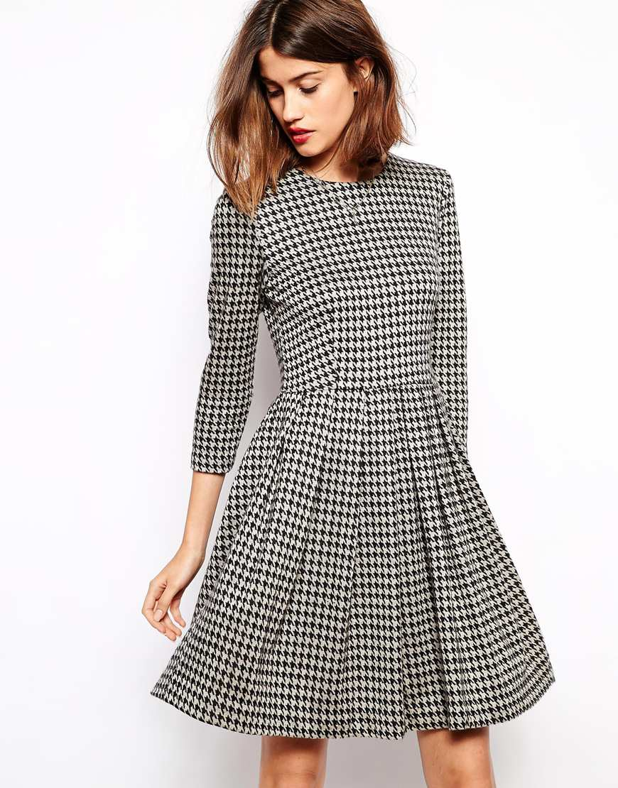 Ganni houndstooth dress, £170