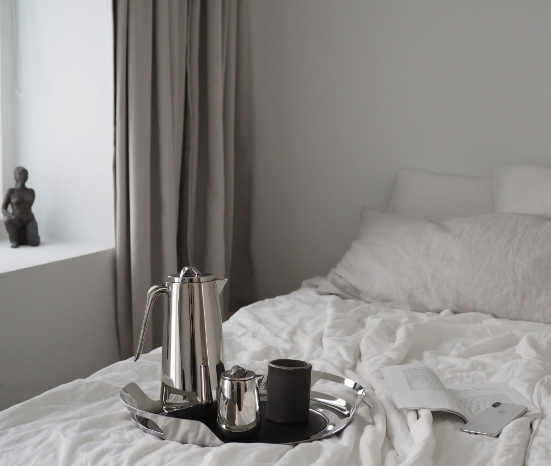 a minimalist's morning routine, coffee in bed with Georg Jensen