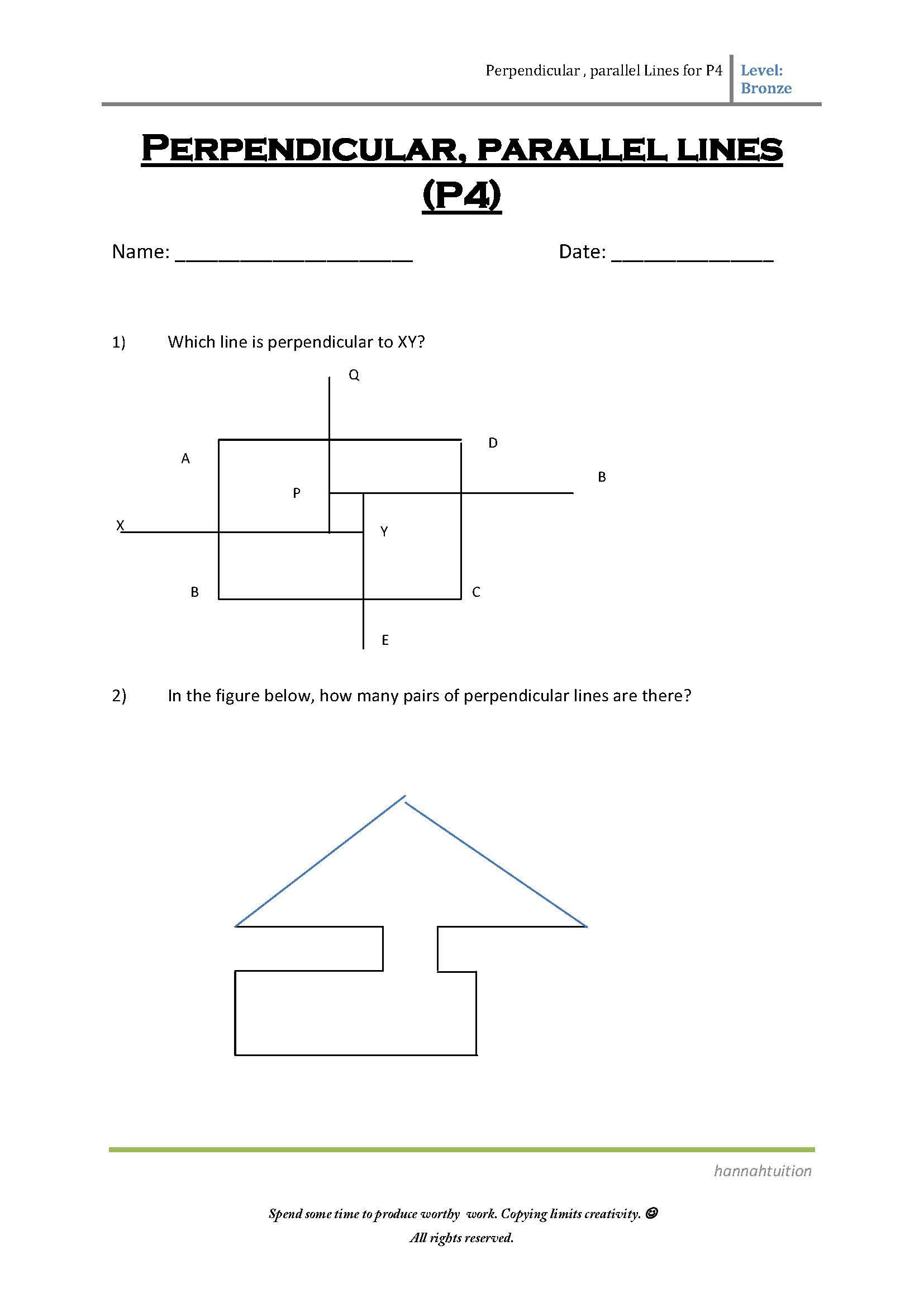 P4 Perpendicular And Parallel Lines Bronze Page 1