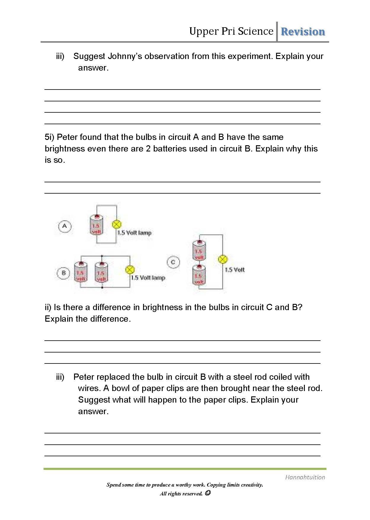 P5 Science Revision Electricity Water Cycles Cells