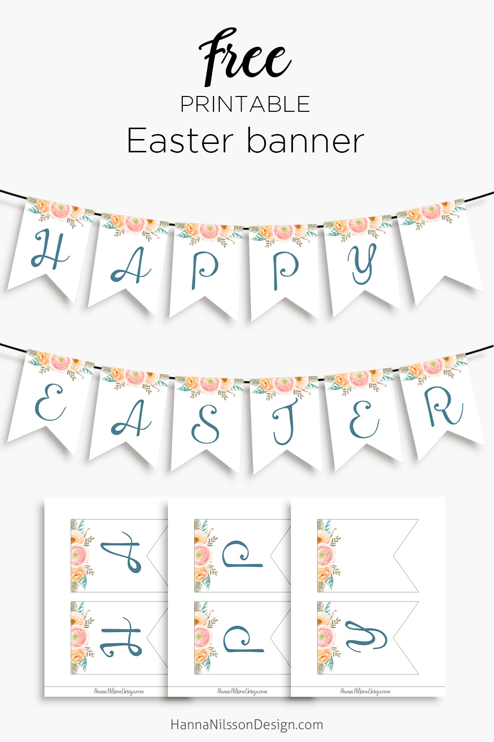 photograph relating to Happy Easter Banner Printable referred to as Content Easter- printable banner for your spring decor Hanna