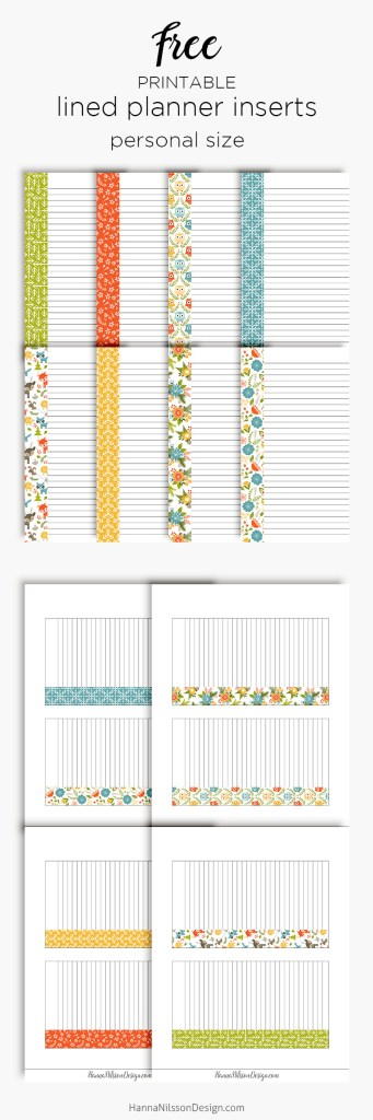 Lined Planner Inserts Happy Planner A5 Personal Size