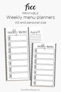 Weekly Menu Planner For A5 And Personal Planners Hanna Nilsson Design