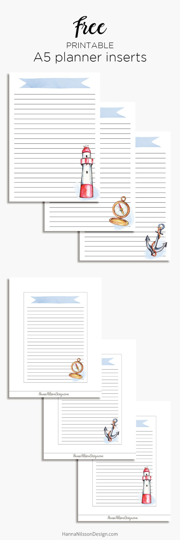 Nautical Planner Insert A5 Happy Planner Printable Lists Hanna