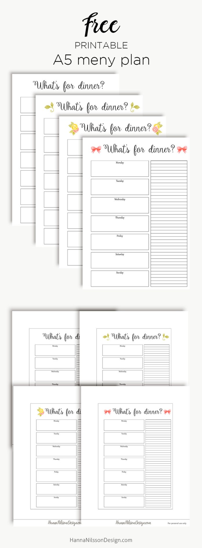 Weekly Menu Planner And Grocery List A5 Planner Printable Hanna