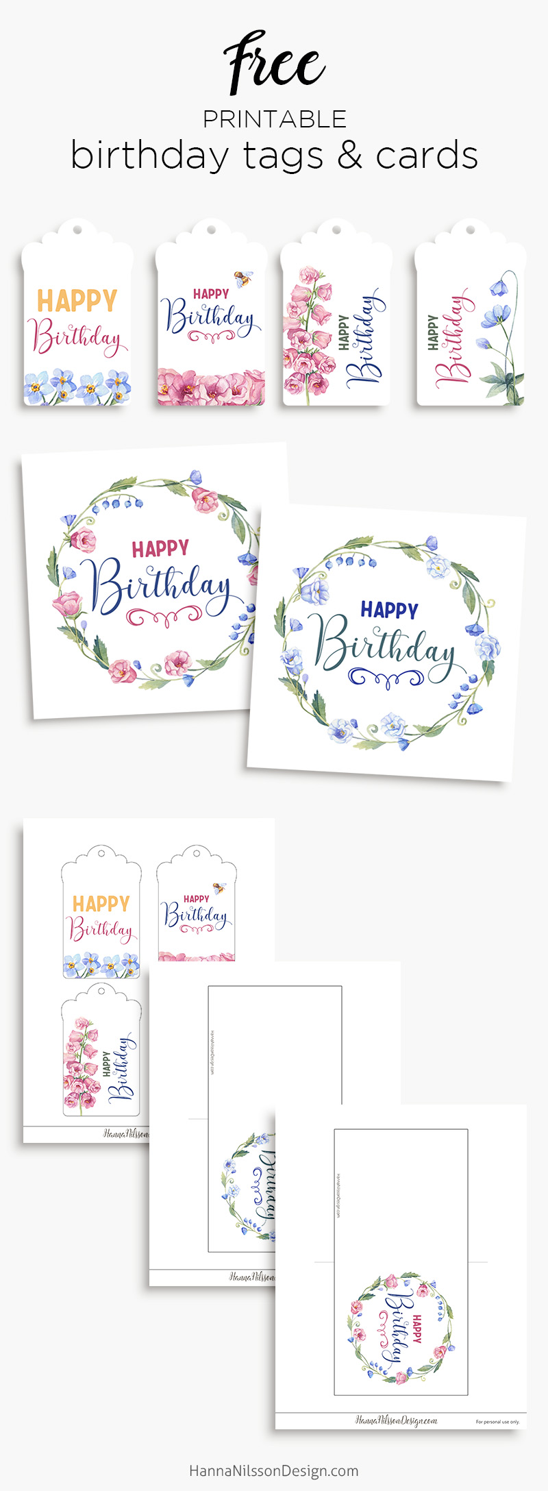 image relating to Free Printable Birthday Tags known as Birthday tags playing cards Free of charge floral printables Hanna