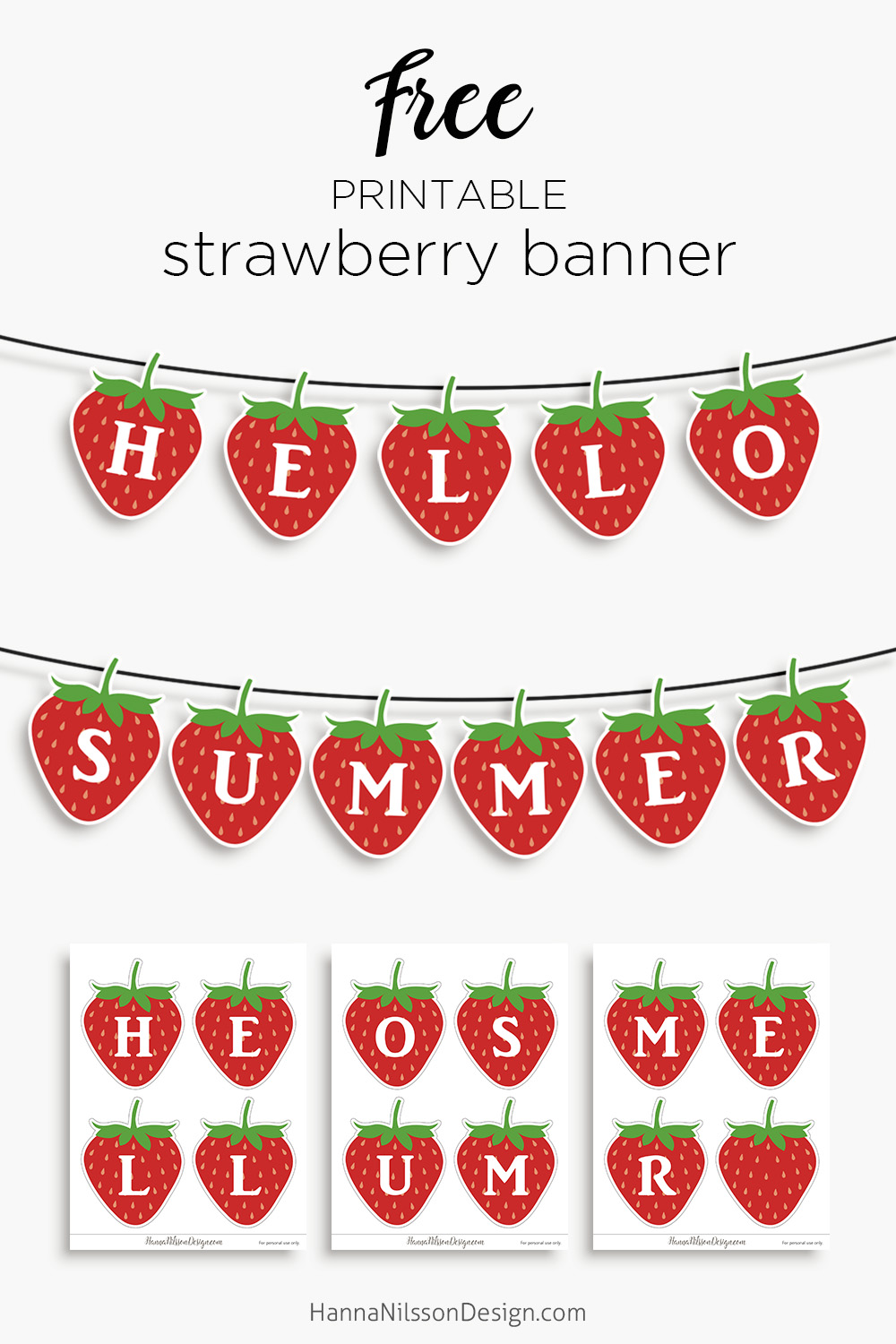 graphic about Free Printable Decor known as Hello there Summer time Strawberry banner absolutely free printable dwelling decor