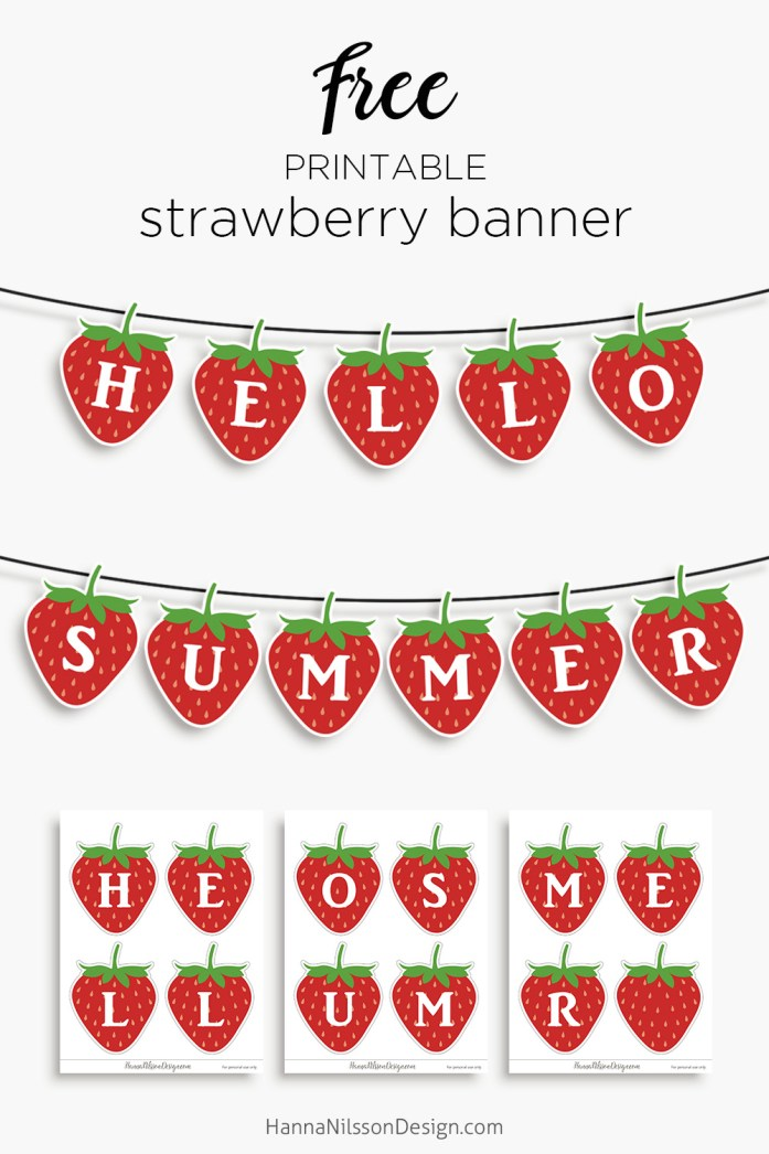 Hello Summer Strawberry Banner Free Printable Home Decor Hanna