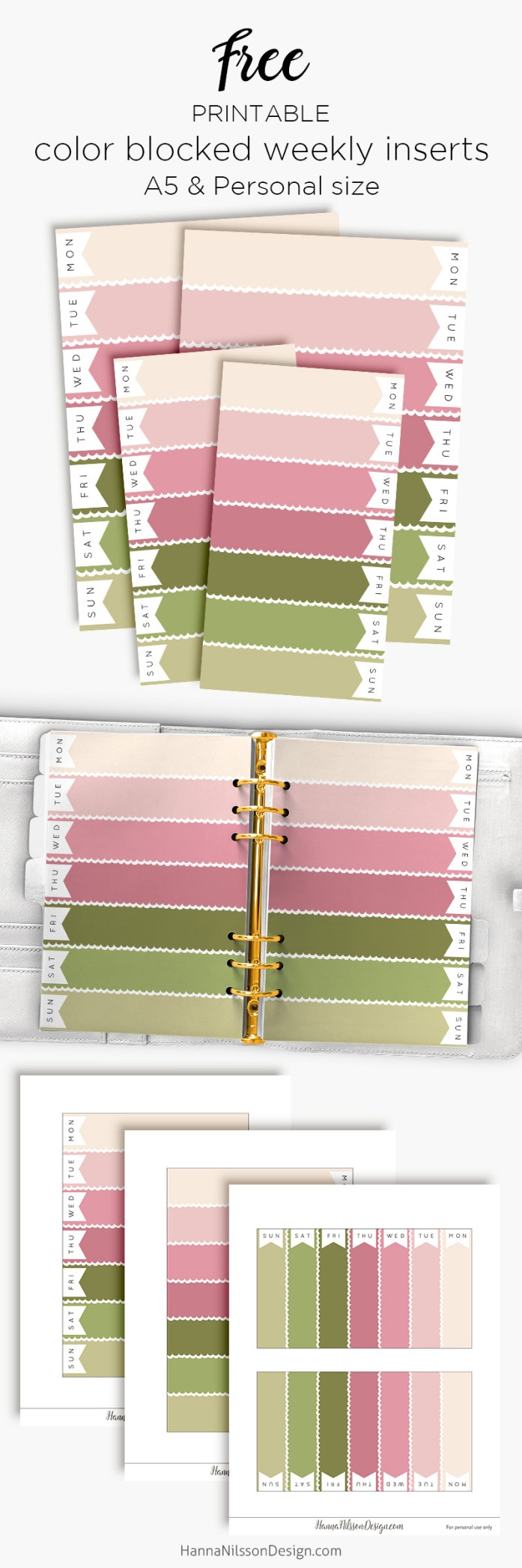 Pink Spring Color Blocked Weekly Planner Inserts Free Printable