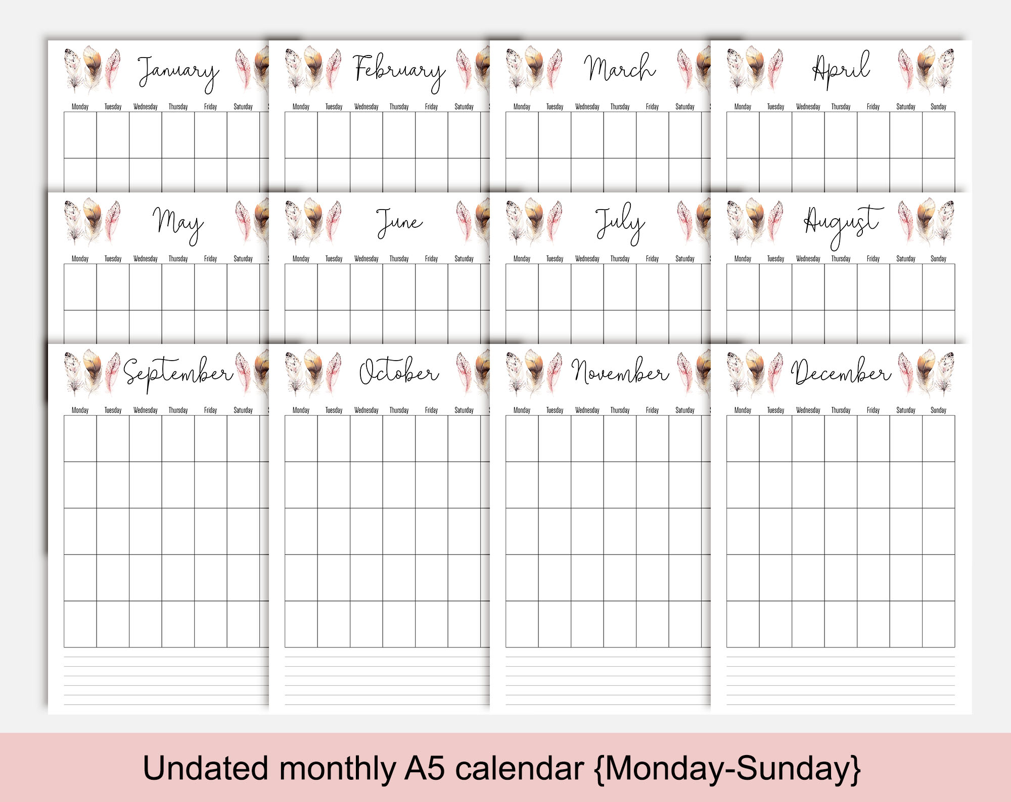 image relating to A5 Planner Printable identify Feather mixture calendar, undated A5 planner printable, Monday-Sunday
