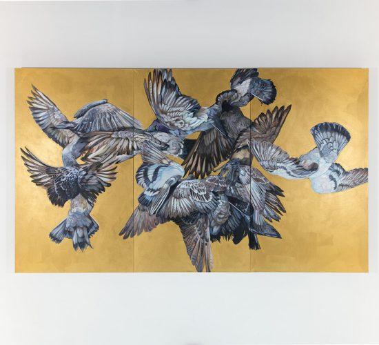 """Diplomarbeit """"Schwingen"""", 500x 380cm, Öl und Acryl auf Leinwand"""