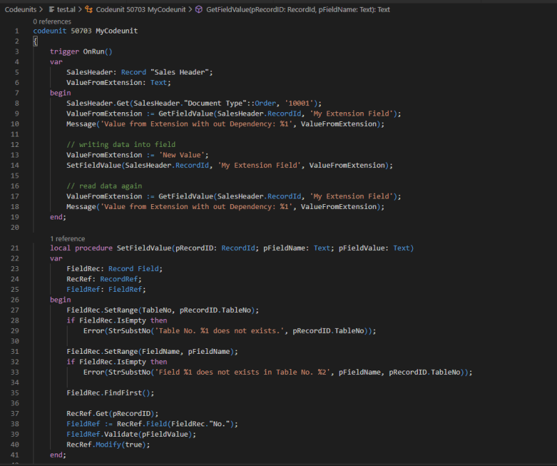 Example code how to use RecordRef & FieldRef to write data without a dependency.
