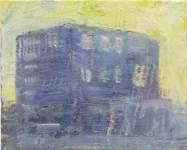 """Stefan Lang: """"Stadthaus II"""", Öl auf Leinwand, 40 x 50 cm, 2002"""