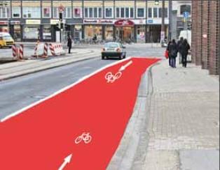 Vorschlag des ADFC für einen Fahrradstreifen