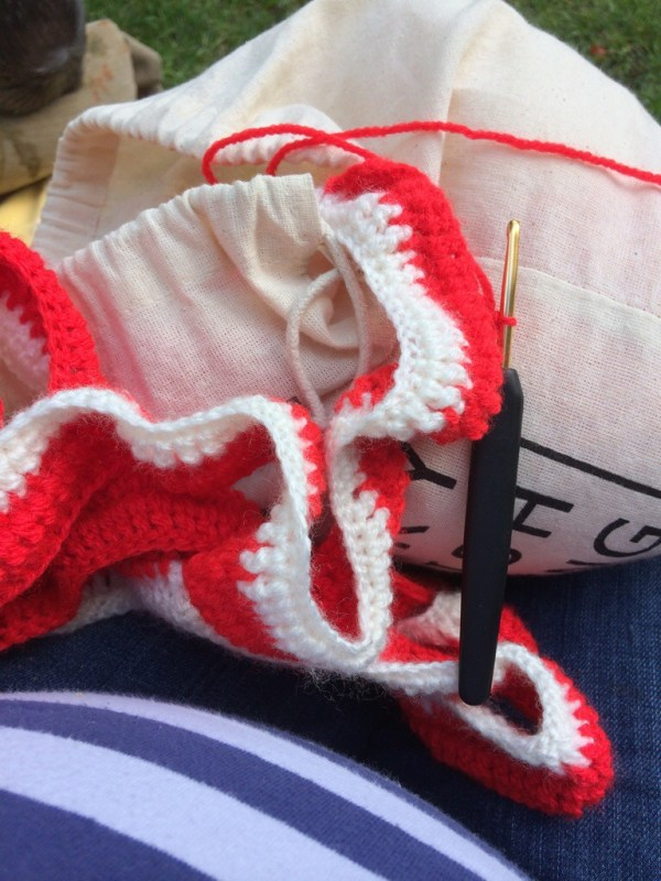 Crocheting in the park